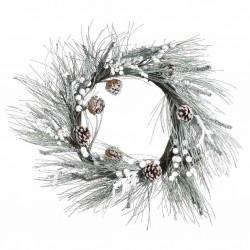Corona pino con nieve navidad
