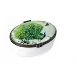 """Cajita en cristal """"Pavo Real"""" Verde en Snoby"""